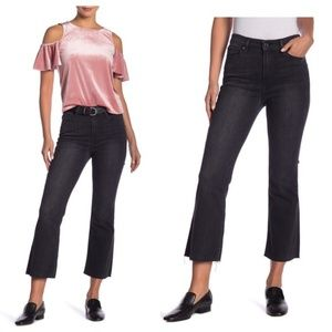 Good American Cropped Raw Edge Flare Jeans Black